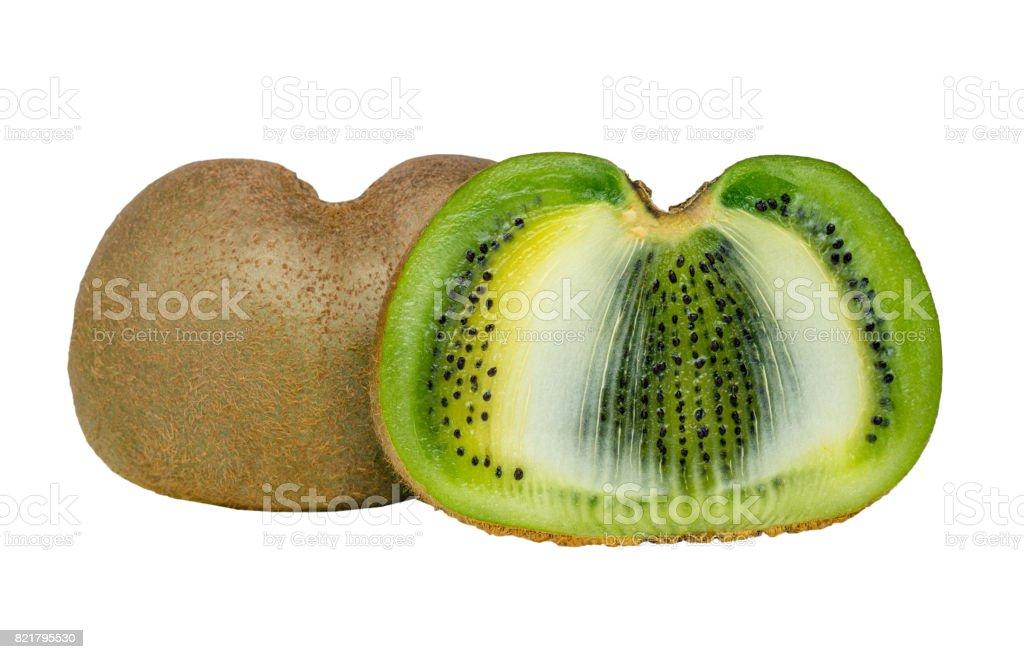 Whole kiwi fruit and his sliced segments isolated on white background cutout stock photo