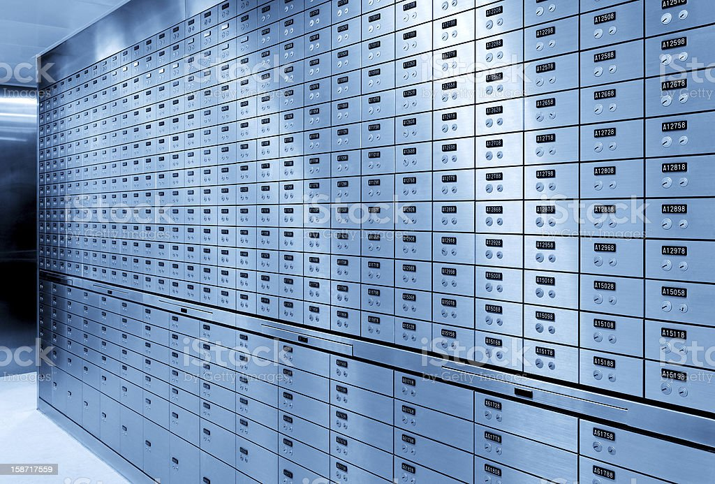 A whole line up of safety deposit boxes at the bank  stock photo