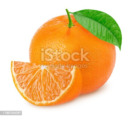 Whole mandarin with slice isolated on white background. Full depth of field.