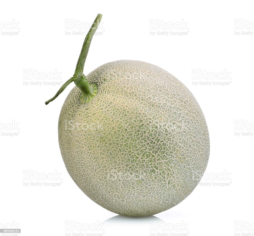 whole of japanese melons, green melon or cantaloupe melon isolated on white background stock photo