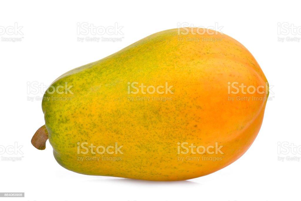 whole of ripe papaya isolated on white background stock photo
