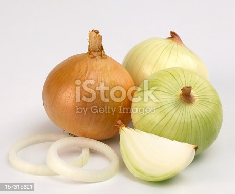 Onions in white background