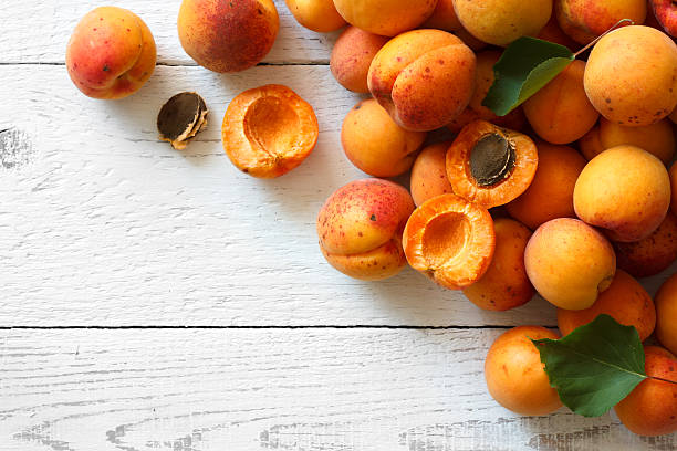 Whole orange apricots with red blush. stok fotoğrafı