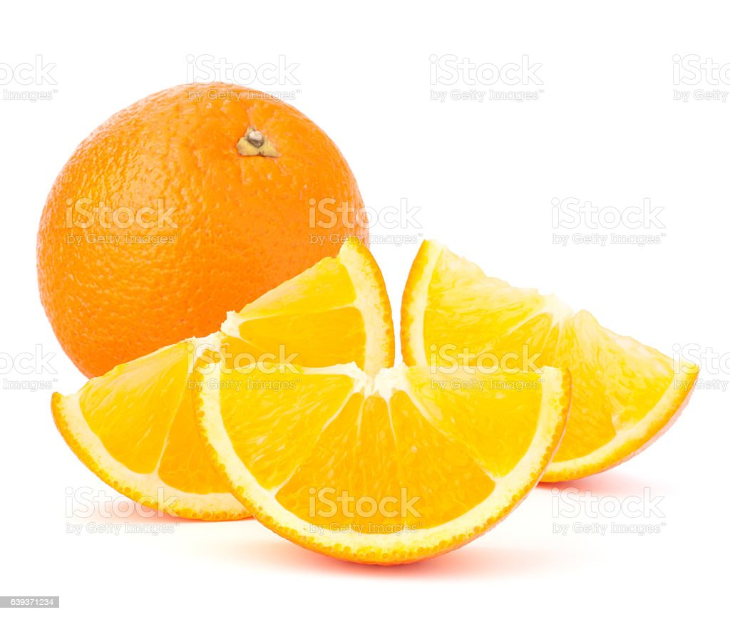 Whole orange fruit and his segments or cantles stock photo