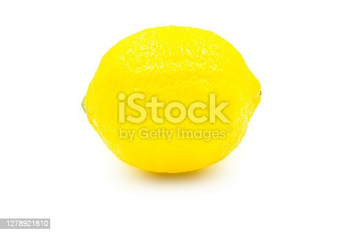 Whole organic lemon on white isolated background with clipping path. Fresh lemon have high vitamin C and delicious sour taste for lemonade or cooking. Citrus or citron fruit concept.