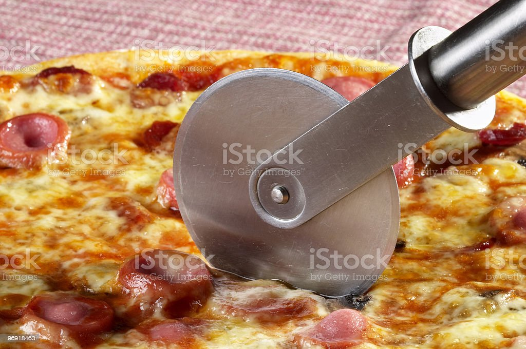 Whole pizza fragment royalty-free stock photo
