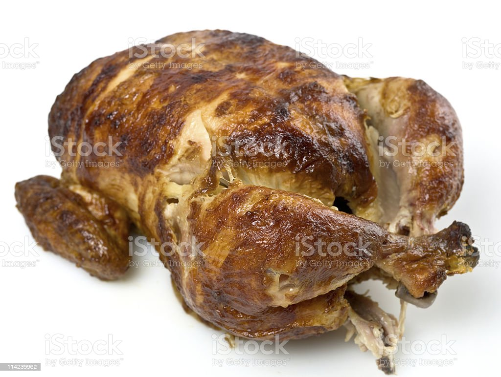Whole plain roasted chicken royalty-free stock photo
