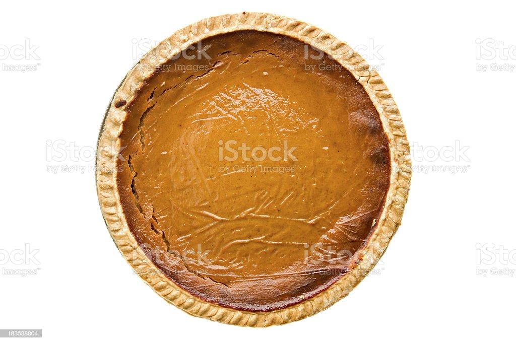 Whole Pumpkin Pie Overhead Isolated - 免版稅一個物體圖庫照片