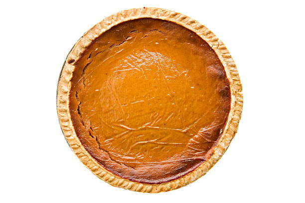 whole pumpkin pie overhead isolated - pumpkin pie 個照片及圖片檔