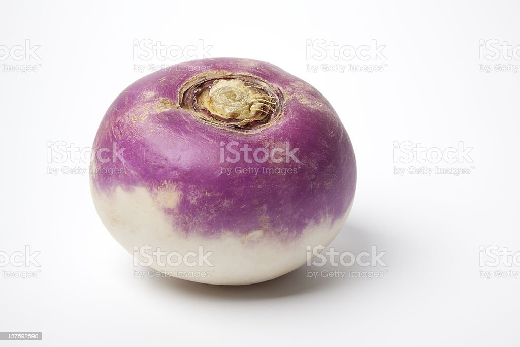 Whole purple headed turnip stock photo