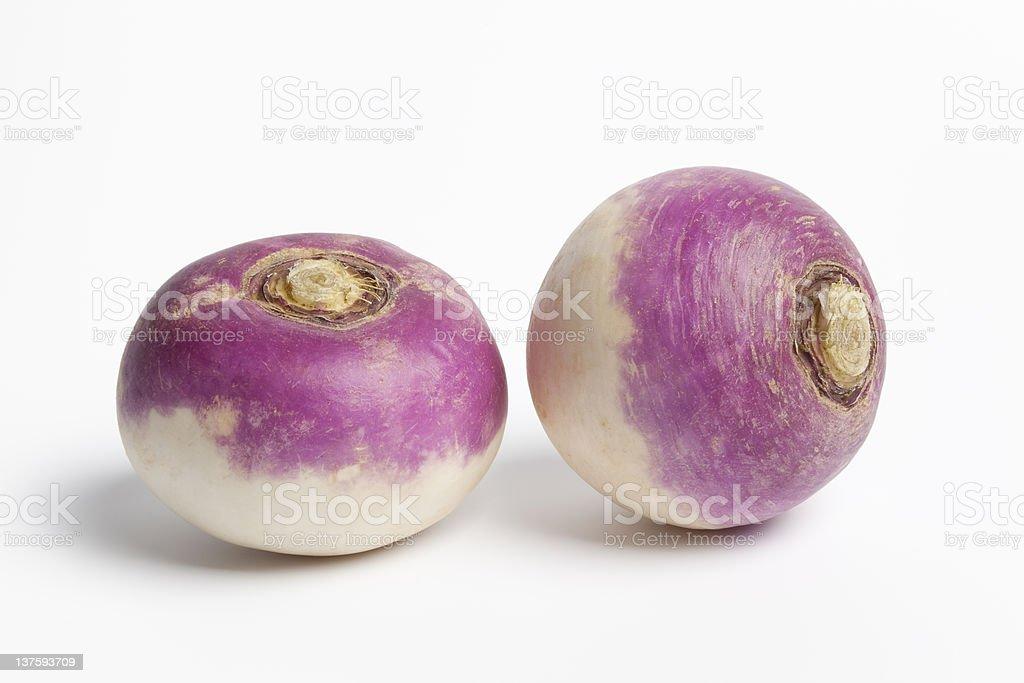 Whole purple headed turnips on white background royalty-free stock photo
