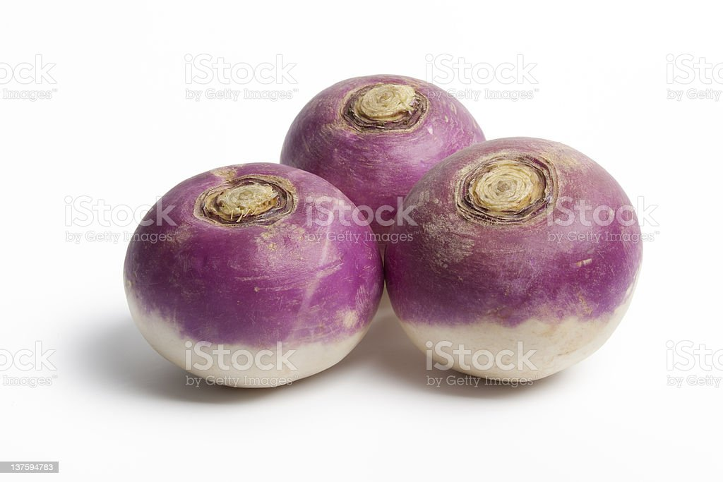 Whole purple headed turnips stock photo