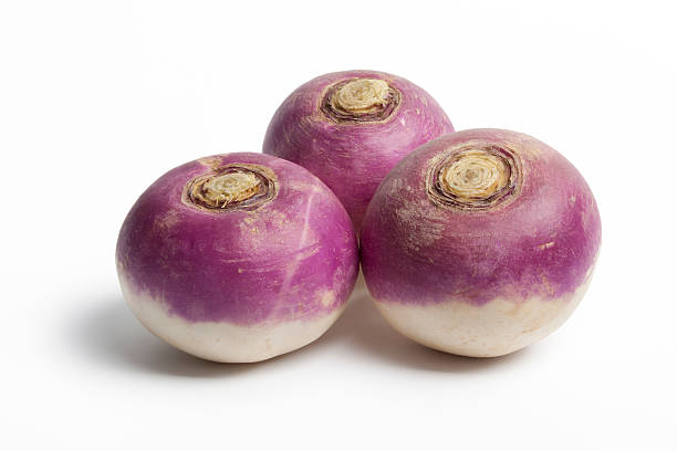 Whole purple headed turnips stock photo