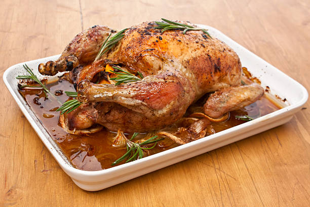 whole roasted stuffed turkey (chicken ) stock photo