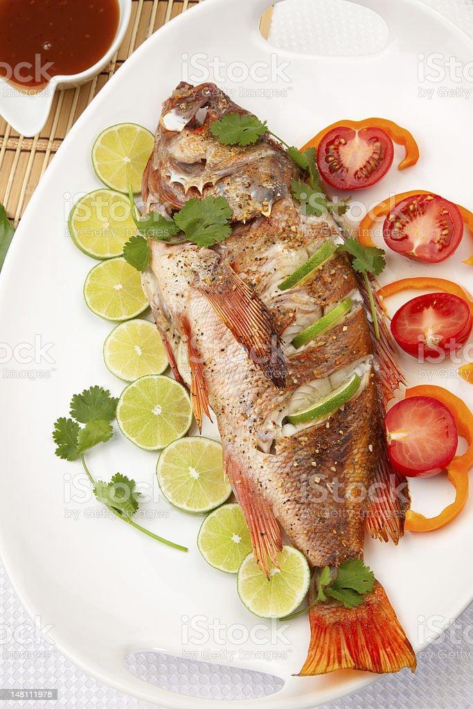 Whole Roasted Wild Rockfish royalty-free stock photo