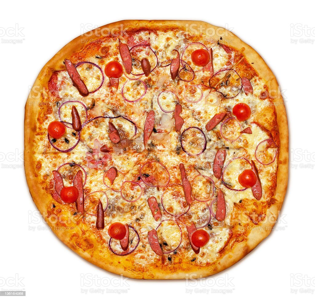 Whole sausage Pizza royalty-free stock photo