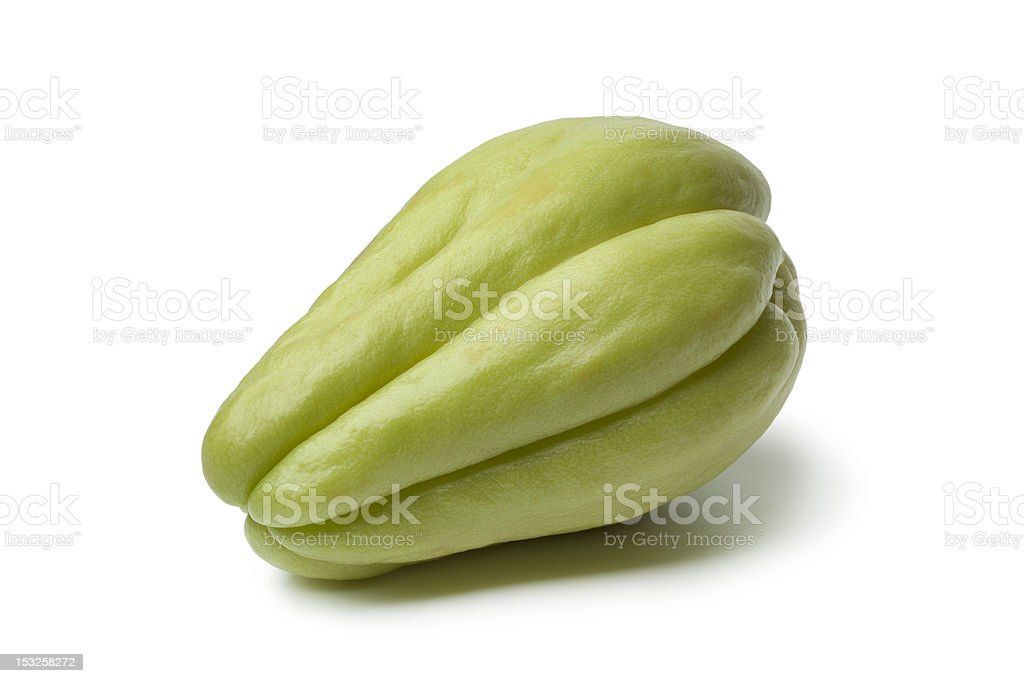 Whole single fresh chayote royalty-free stock photo