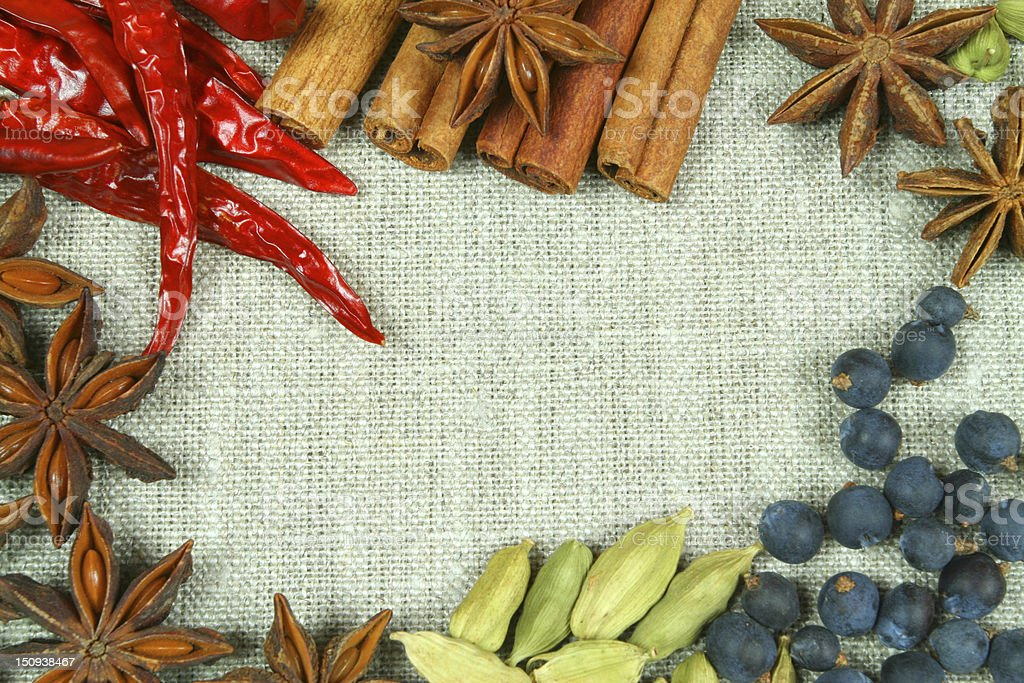 Whole spices frame royalty-free stock photo