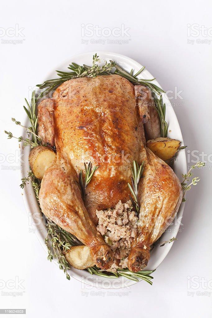 whole stuffed roast turkey stock photo