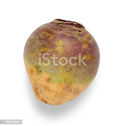 Whole swede vegetable isolated on white with clipping path