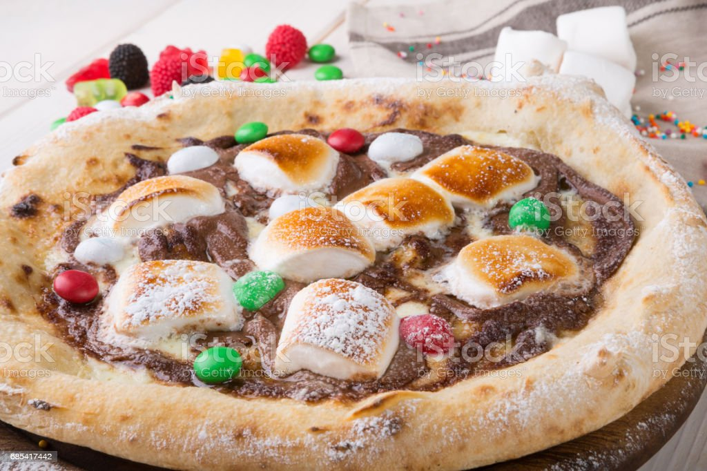 Whole sweet pizza stock photo