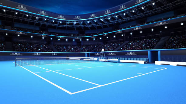 whole tennis court from the perspective of the player - tennis stock pictures, royalty-free photos & images