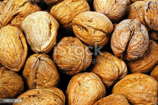 Walnuts in their shells, UK, Western Europe.