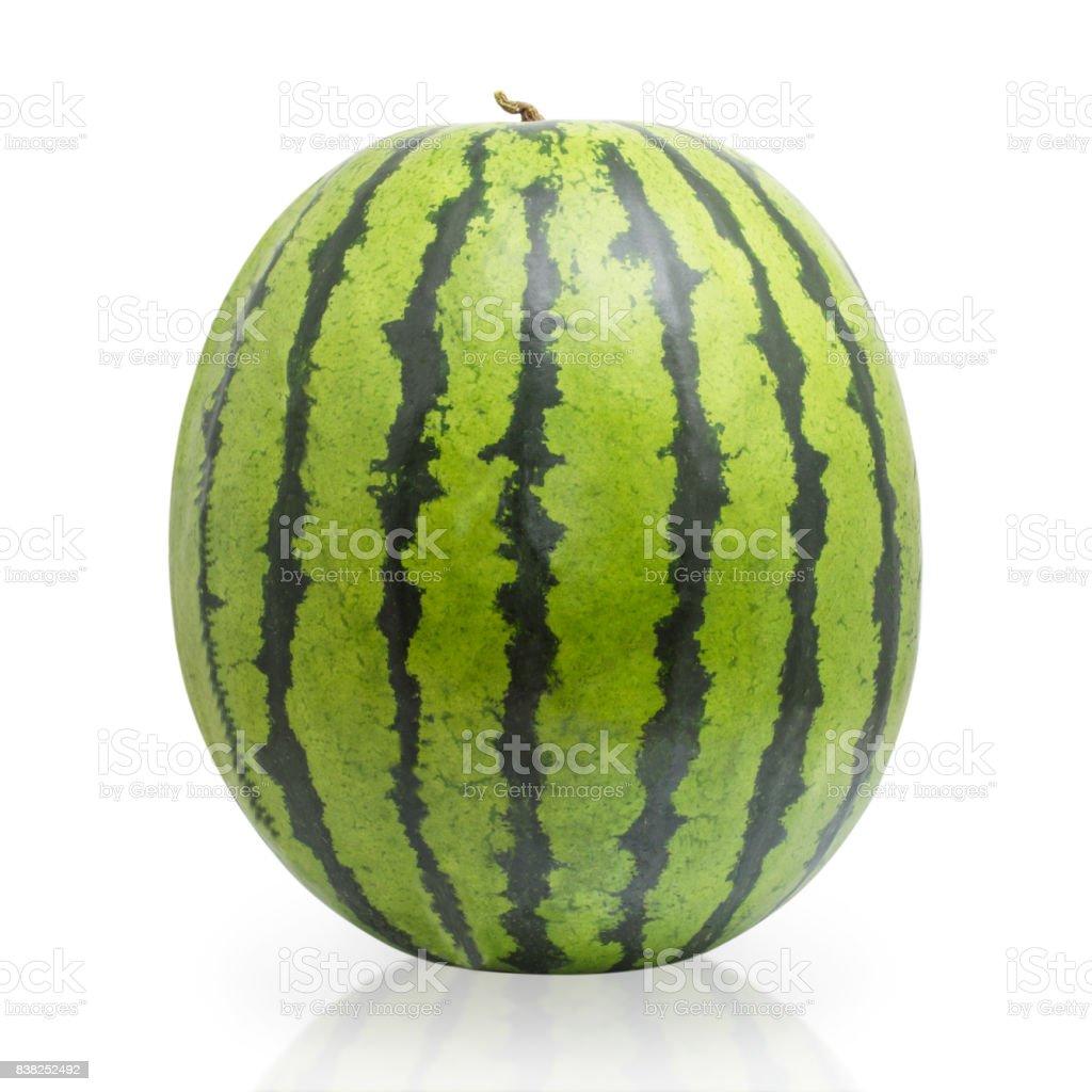 Whole watermelon isolated on white background stock photo