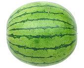 Macro view of juicy watermelon bite on brown studio background