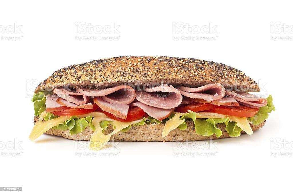 whole wheat baguette sandwich royalty-free stock photo