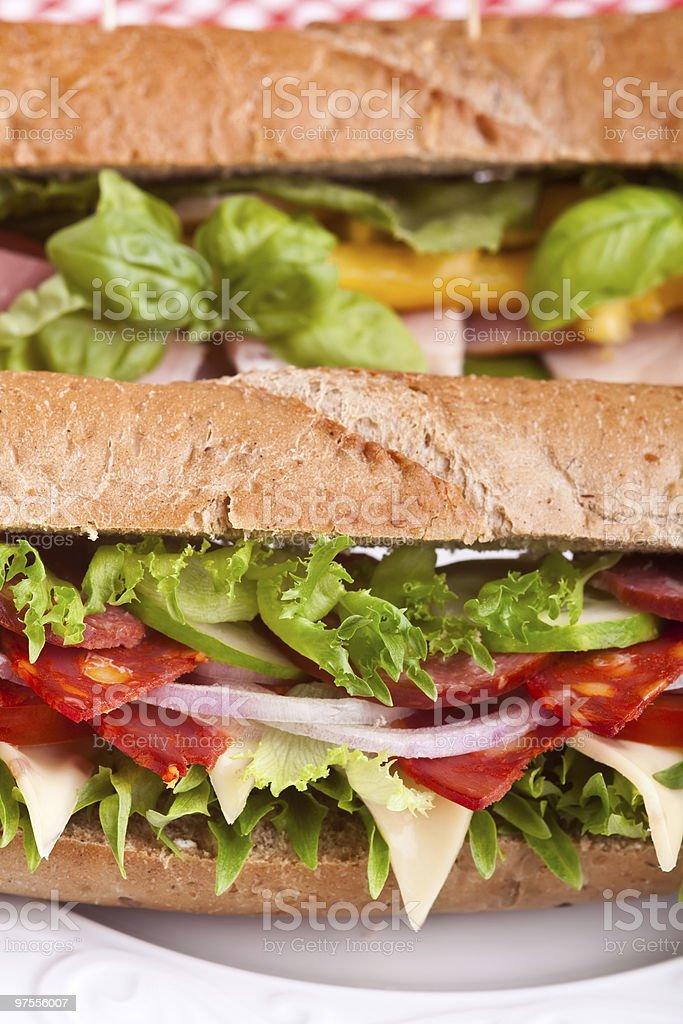 Blé complet sandwichs baguette photo libre de droits