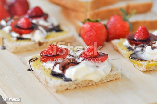 Whole Wheat Bread And Canape With Strawberry Stock Photo & More Pictures of Almond