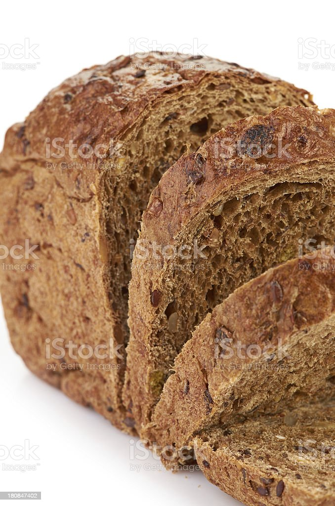 whole wheat bread, isolated on white background royalty-free stock photo