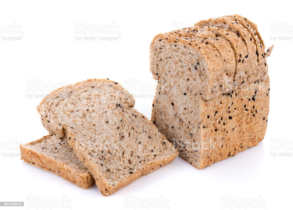 whole wheat bread isolated on white background stock photo