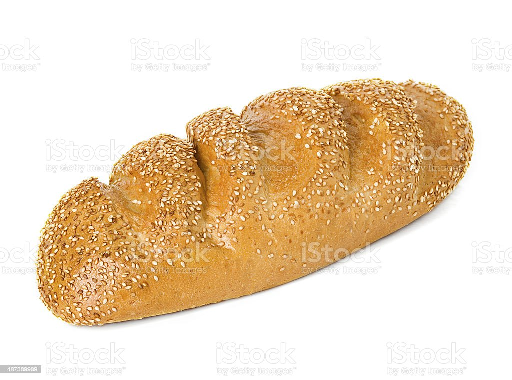 whole wheat bread, long loaf, isolated on white background stock photo