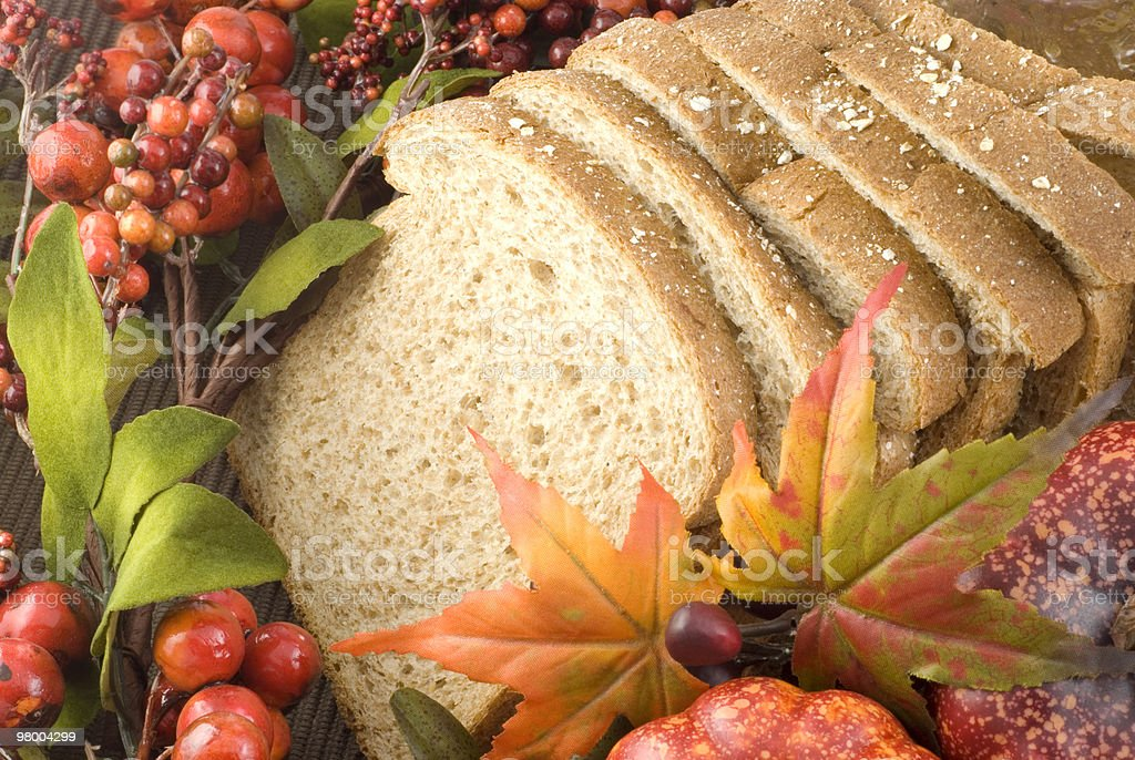 Whole Wheat Bread with Fall Setting royalty-free stock photo