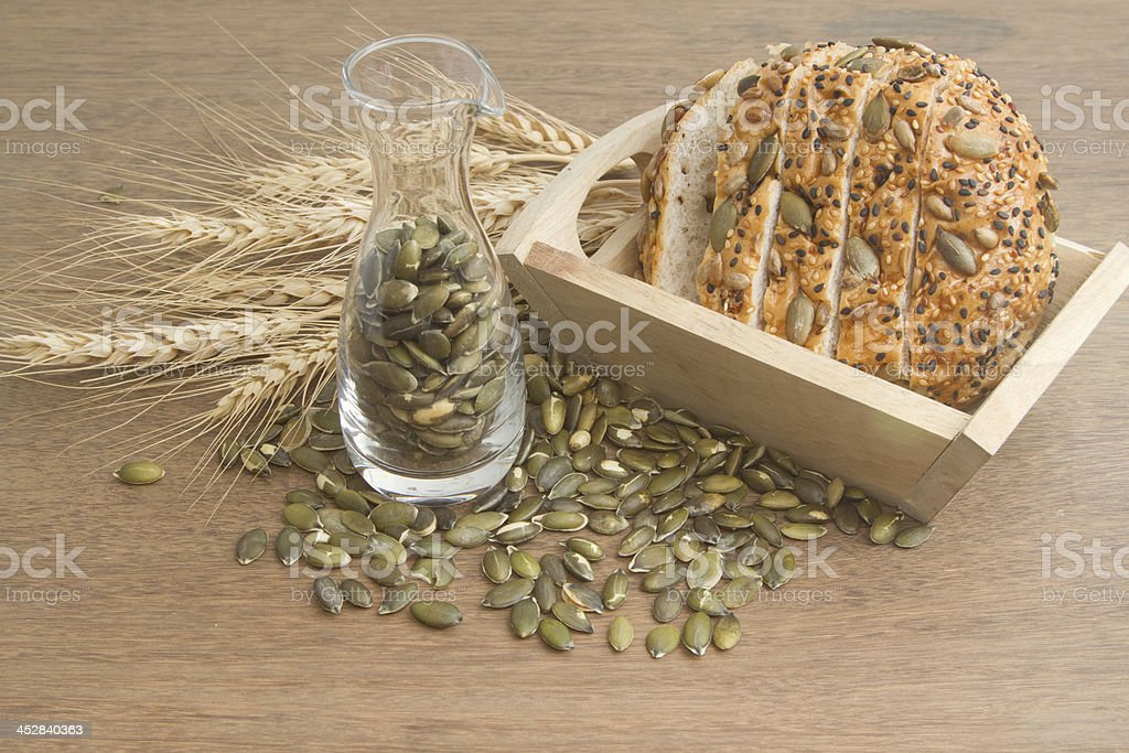 whole wheat bread with  pumpkin seed royalty-free stock photo