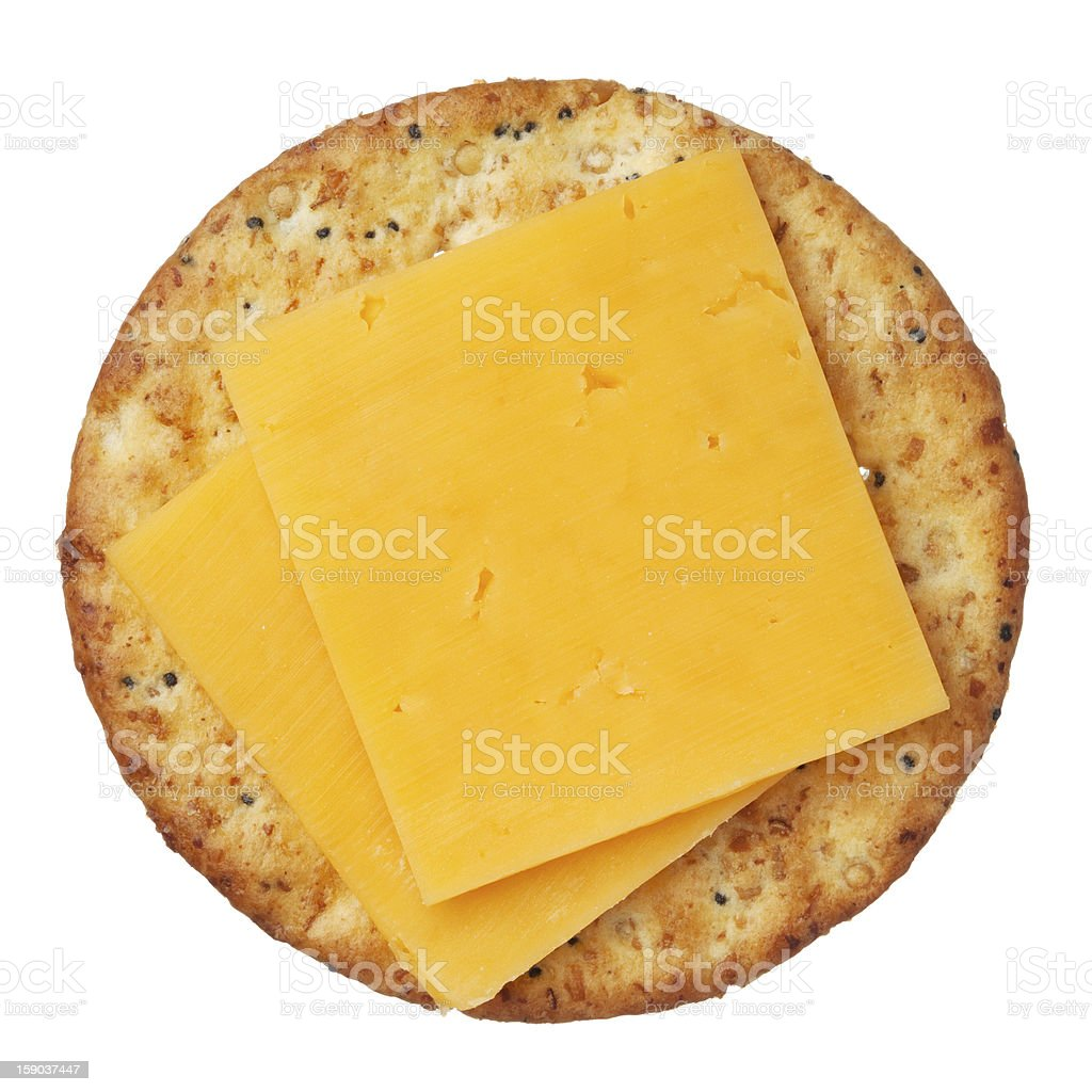 Whole wheat cracker and cheese, isolated on white background, close-up. stock photo