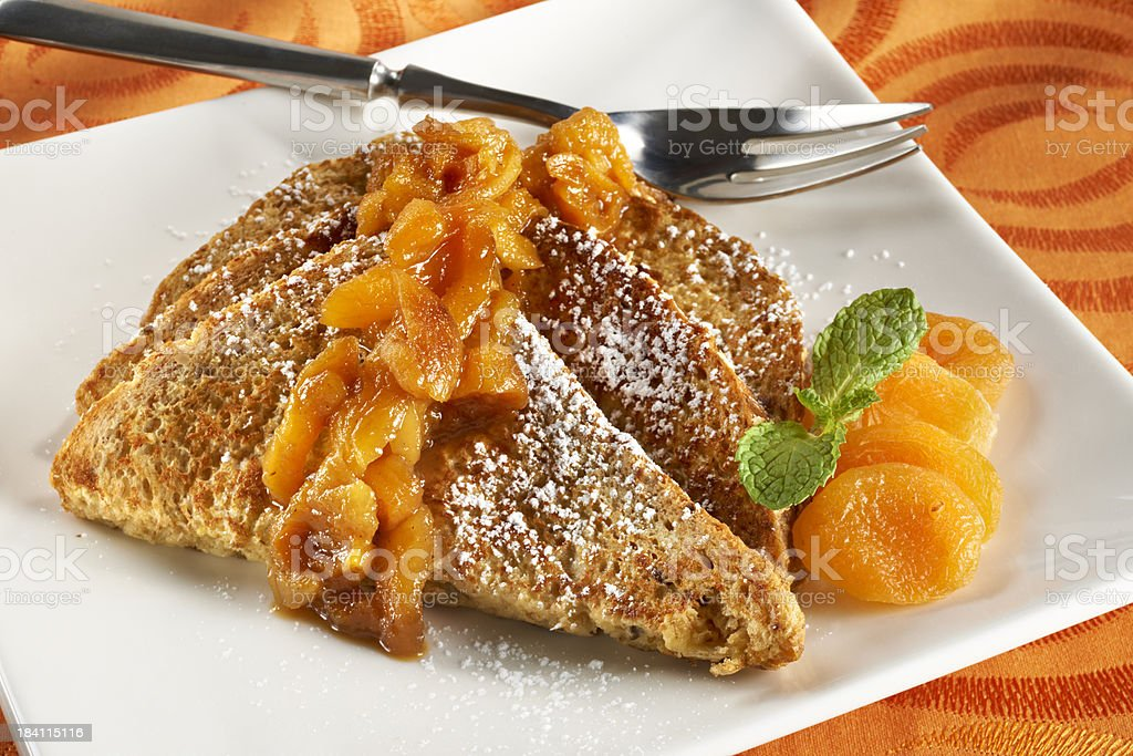Whole Wheat French Toast with Apricots stock photo