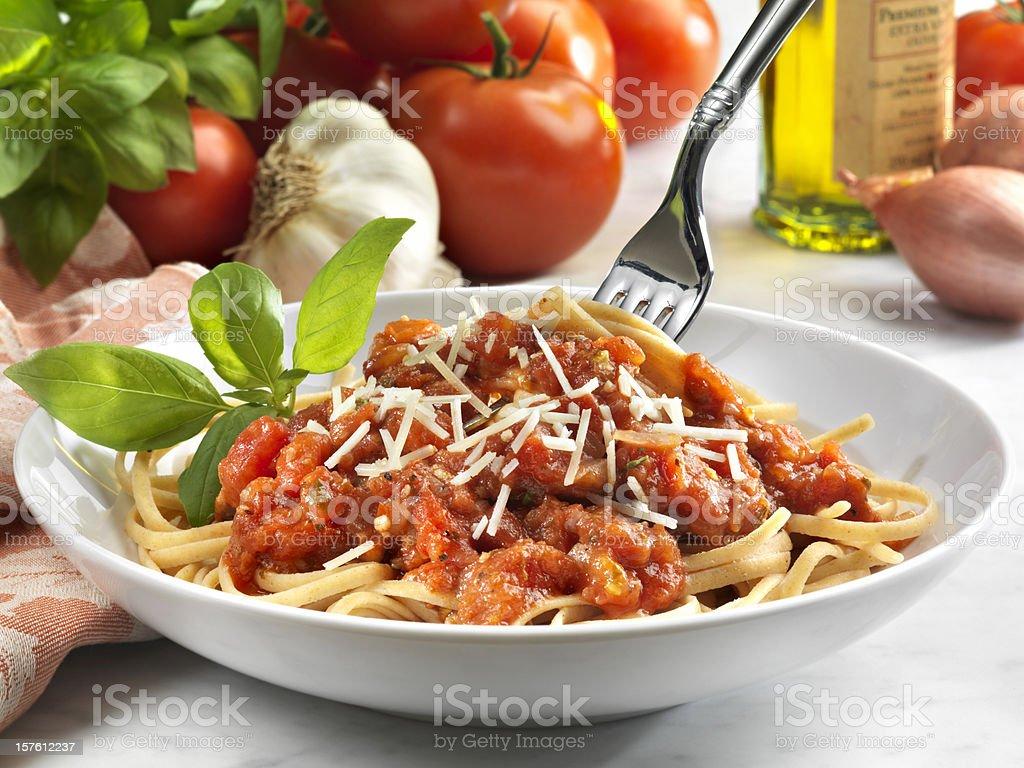 Whole Wheat Linguini with Tomato Sauce, Vegetarian stock photo