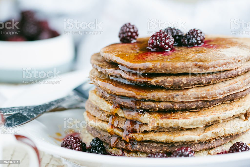 Whole wheat oatmeal pancakes stock photo