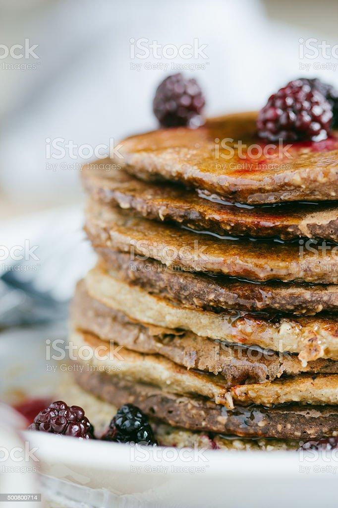 Whole wheat oatmeal pancakes royalty-free stock photo