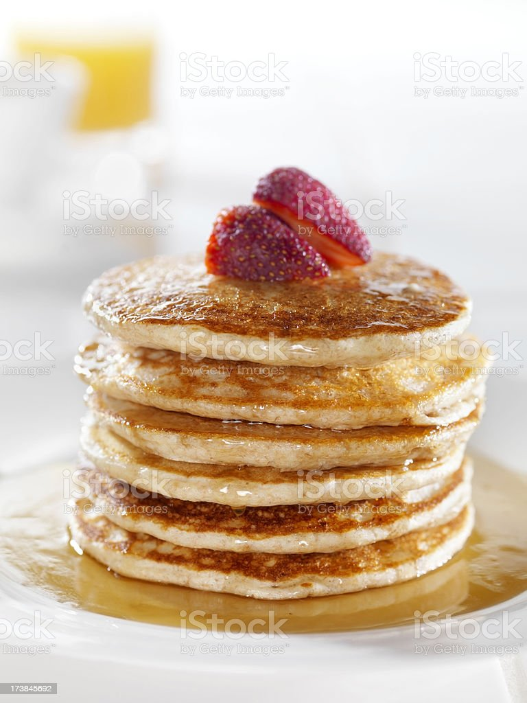 Whole Wheat Pancakes with Strawberries royalty-free stock photo