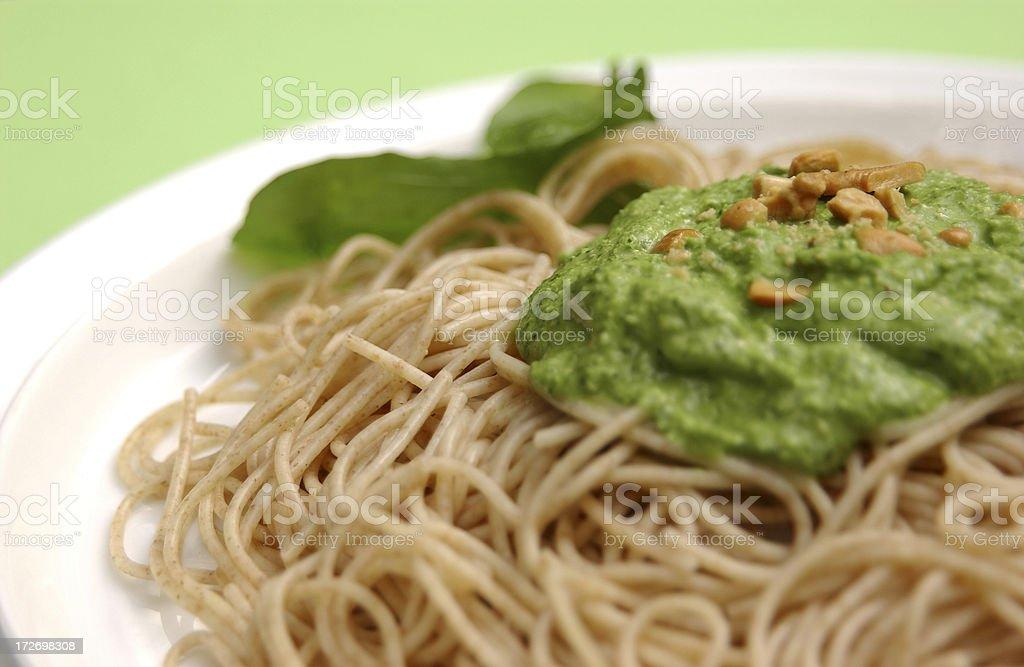 whole wheat pasta al pesto 1 royalty-free stock photo