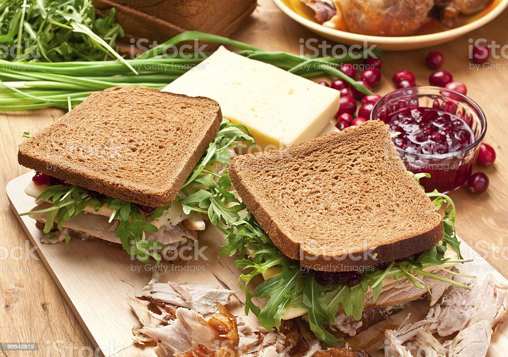 Whole wheat poultry sandwich royalty-free stock photo