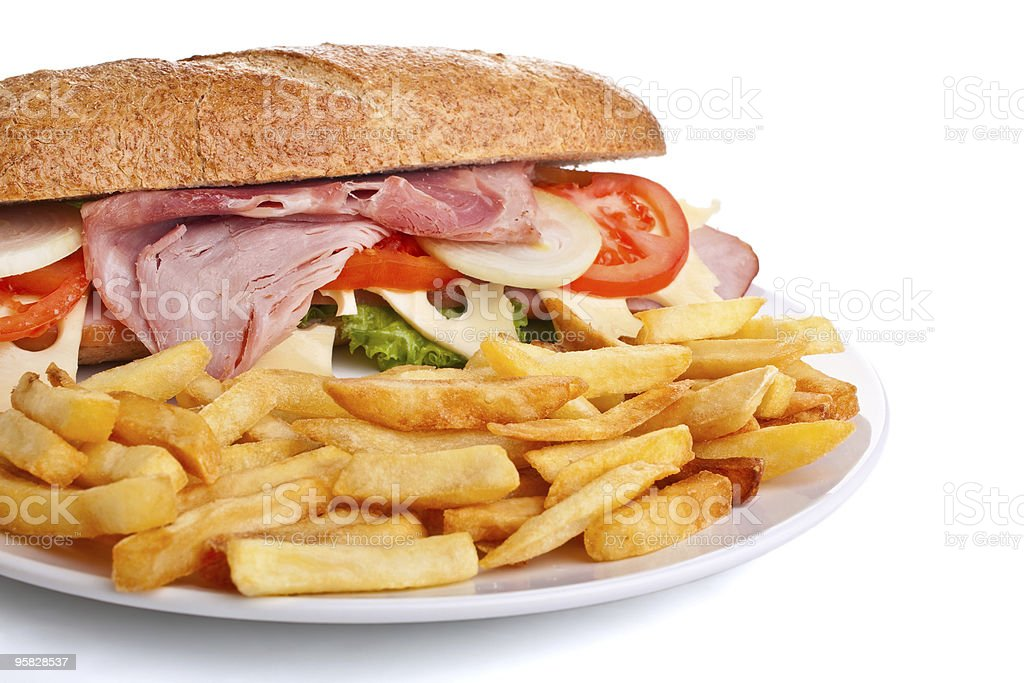 whole wheat  sandwich with fries royalty-free stock photo