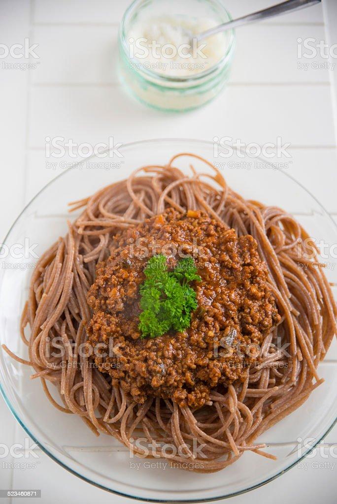 Whole Wheat Spaghetti Bolognese stock photo