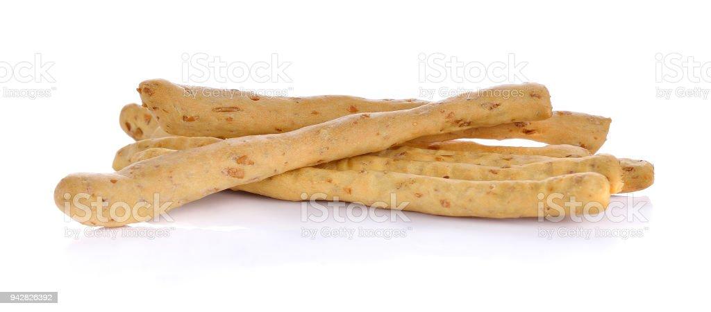 whole wheat sticks on white background stock photo