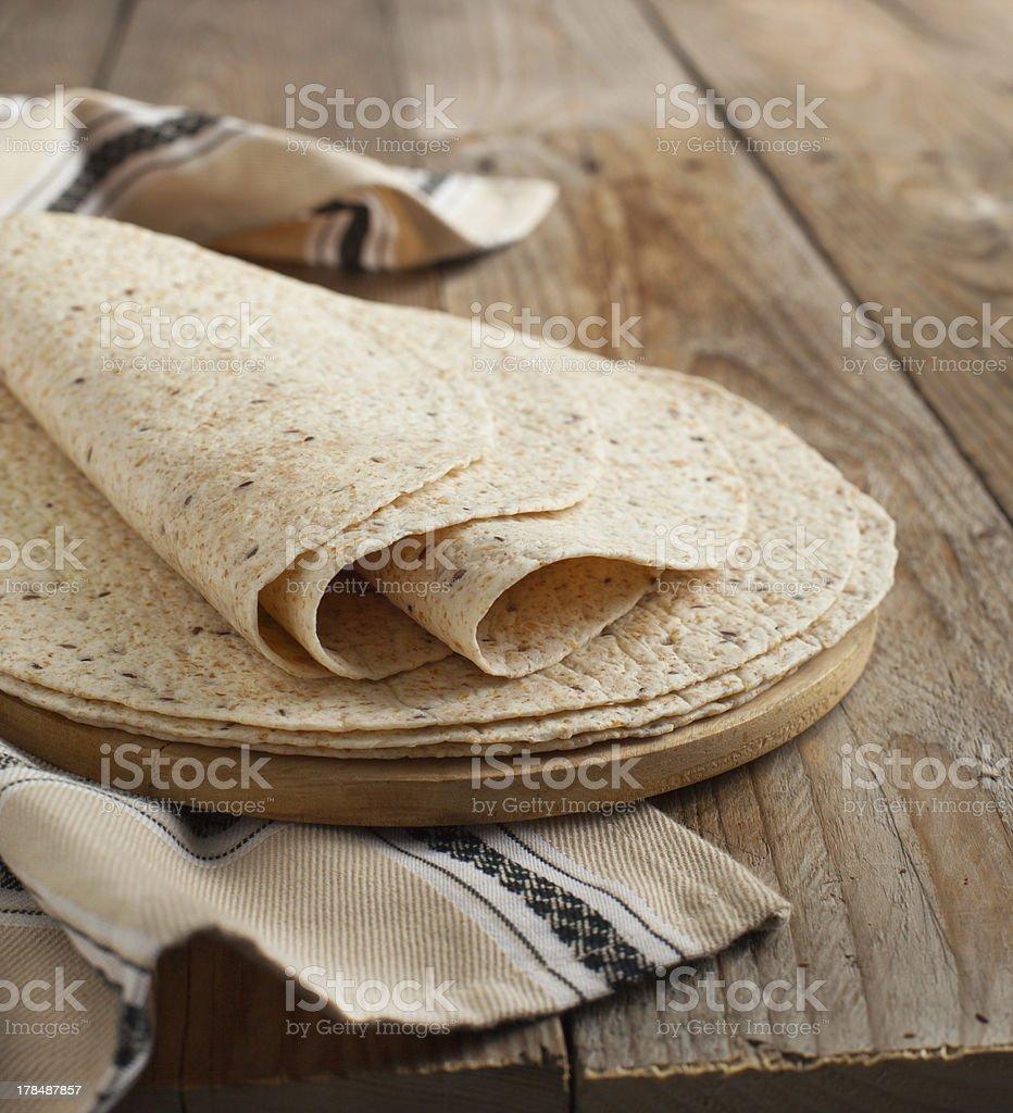 Whole wheat tortillas stock photo
