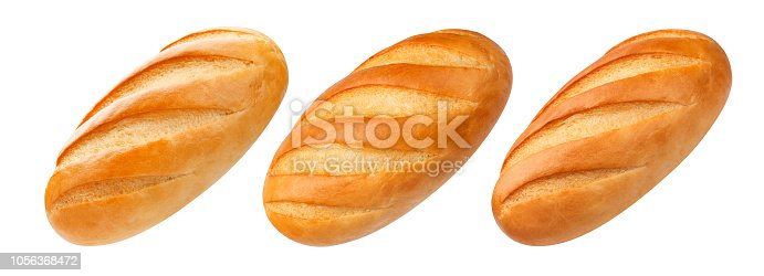 White bread isolated on white background with clipping path. Collection